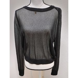 Theory Black Relaxed Sheer Scoop Neck Sweater